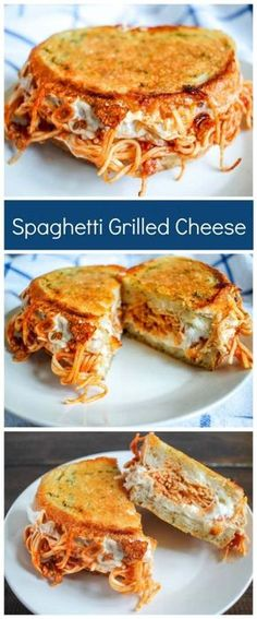 Spaghetti Grilled Cheese on Parmesan Garlic Bread is the most insanely delicious way to serve leftover spaghetti!