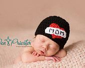 PDF CROCHET PATTERN 020 - I Love Mom beanie - Multiple sizes from newborn through 12 months