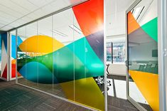 Colourful window graphic in an office #office #wall #graphic #inspiration #film