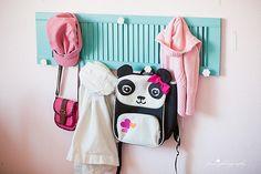 repurposing a shutter–adding bedroom storage Backpack Hanger, Diy Backpack, Girl Room, Girls Bedroom, Bedroom Ideas, Old Shutters, Bedroom Shutters, Teen Decor, Backpack Pattern