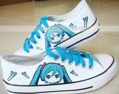 Vocaloid Anime Shoes Painted Vocaloid on Low-top Painted Canvas ,Low-top Painted Canvas Shoes