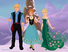 Frozen Fever: Kristoff, Anna, and Elsa.