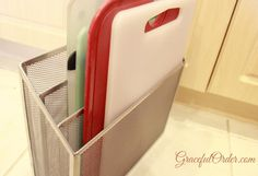 Paper organizer to hold cutting boards.