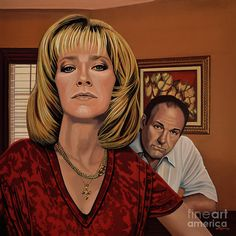 Realistic acrylic painting of Edie Falco as Carmela Soprano and James Gandolfini as Tony Soprano, painted by the Dutch fine artist Paul Meijering - the Original painting is 90 x 90 cm and for sale Tony Soprano, Mafia, Die Sopranos, Christopher Moltisanti, Dexter Seasons, Art Corner, Story Arc, Best Tv Shows, Caricature