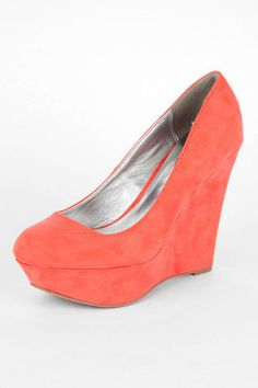 Worthy Wedges in Coral $30 at www.tobi.com--Coral can really go with a lot of different colors