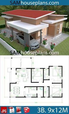 design plans 3 bedrooms House Plans with 3 bedrooms roof tiles House Plans with 3 bedrooms roof tiles - Sam House Plans Modern Bungalow House, Bungalow House Plans, Dream House Plans, House Floor Plans, Small Modern House Plans, Simple House Plans, Simple House Design, Tuscan House Plans, Three Bedroom House Plan