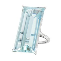 "Paolo Costagli ""Mirror"" Aquamarine Cocktail Ring at 43.21 carats"