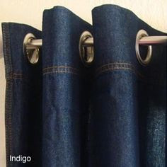 Denim curtains - need to be crisp. I'd avoid the jeans style stitching, you want denim without a jeans pastiche. 96 Inch Curtains, Hanging Curtains, Curtains With Blinds, Panel Curtains, Denim Curtains, Grommet Curtains, Denim Fabric, Window Coverings, Window Treatments