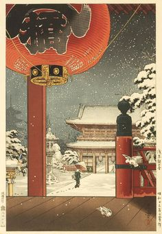 Tsuchiya Koitsu A Winter Day At The Temple Asakusa Vintage Japanese Woodblock Print Framed Art Print by Enshape - Vector Black - Japanese Drawings, Japanese Artwork, Japanese Painting, Japanese Prints, Chinese Painting, Art Asiatique, Japanese Illustration, Botanical Illustration, Art Japonais