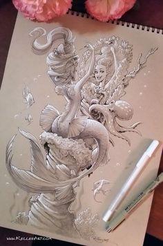 I'm going to start putting up a new original mermaid drawing on my Etsy store every Monday so I'll hav. Mermaid with Harp Mermaid Drawings, Art Drawings, Mermaid Sketch, Mermaid Artwork, Mermaids And Mermen, Merfolk, Traditional Art, Bunt, Amazing Art