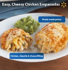 Cheesy Chicken Empanada! Try this yummy recipe for a chipotle-flavored homemade meal that your family will love. Simply mix together filing ingredients, cut ready-made pie crust into rounds, add the filling to rounds, fold the rounds, bake and they're ready to eat. Be sure to make extra– they will disappear fast! :)  Get this and more time-saving recipes from Simple Meals at Walmart now.