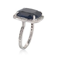 Ross-Simons - 11.95 Carat Sapphire and .24 ct. t.w. Diamond Ring in Sterling Silver - #785389