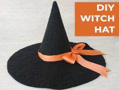 DIY Witch Hat Tutorial (VIDEO) Easy Homemade Halloween Costumes, Halloween Hats, Halloween Ideas, Diy Costumes, Costume Ideas, Kids Witch Costume, Diy Hat, Diy Witch Hat, Hat Patterns To Sew