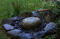 Simple water feature has a zen feel without looking overtly like it belongs in a Japanese garden