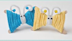 Spring crafts for kids – yarn butterflies! (using popsicle sticks) Yarn Crafts For Kids, Spring Crafts For Kids, Craft Activities For Kids, Summer Crafts, Cute Crafts, Preschool Crafts, Diy Crafts, Craft Ideas, Play Ideas