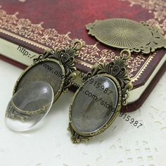 Sweet Bell 10set two color  filigree cameo cabochon 23*45mm(Fit 18*25mm) base setting pendant tray + clear glass cabochons D0357 #Affiliate