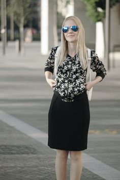 Black pencil dress: 3 ways to wear   Epic Street Style #pencildress #blackdress #LBD #floral #dark #bomber #bomberjacket #backpack #leopard #animalprint #skaters #slipons #ootd #wiw #outfit #inspo #outfitinspo #smart #casual #chic