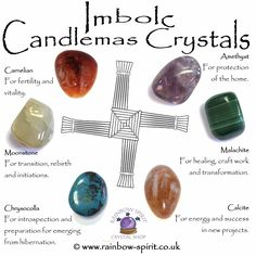 Imbolc Candlemas Crystals - Re-Wilding Crystals And Gemstones, Stones And Crystals, Natural Crystals, Imbolc Ritual, Under Your Spell, Crystal Shop, Crystal Guide, Crystal Healing Stones, Sabbats