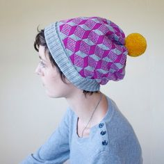 Winter Hat Wool Beanie Optical Illusion Cube Pattern - Grey & Hot Pink with Mustard Pom Pom