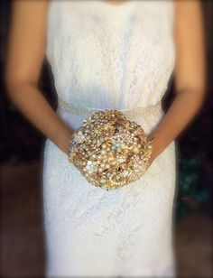 gold brooch bouquet wedding bouquet gold by TheCrystalFlower
