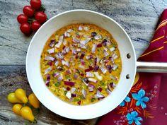 Indiai omlett - 10 perces reggeli különlegesség - Helló Curry! Chili, Curry, Soup, Ethnic Recipes, Yogurt, Curries, Chile, Soups, Chilis