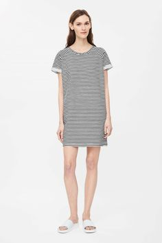 Rolled-sleeve striped dress