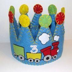 Choo Choo Train Felt Birthday Party Crown