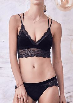 a1e74f9ac3339 Velvet   Lace Bralette and Underwear Set Black