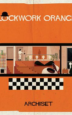 """In """"Archiset,"""" cinephile and architect Federico Babina, depicts the interiors of beloved films in his signature retro style - this one is from Clockwork orange, one of my fav movies"""