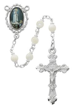 durable service Silver Finish St. Theresa Rosary with 6mm Light Amethyst Color Fire Polished Beads, St. Theresa Center, and 1 3/8 x 3/4 inch Crucifix, Gift Boxed
