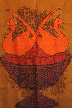 Rare Vintage Irish Linen Ulster Pheasant Fantasia Tea Towel - Orange Red 60s Mod Tea Towel - Made in Ireland by FunkyKoala on Etsy