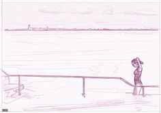 nerosunero Girl exiting the sea 2016 digital drawing 110x160cm...