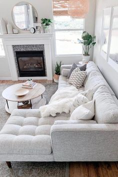 Sven Birch Ivory Right Sectional Sofa Sven Birch Ivory Right Sectional Sofa Make An All White Space Work By Mixing In Different Patterns And Textures Photo By Domestic Blonde Sofa Mcmsofa Midcenturymodern Cozy Living Rooms, Living Room Interior, Home And Living, Modern Living Room Decor, Living Room With Sectional, Condo Living Room, Dining Room, White Living Room Furniture, Interior Livingroom