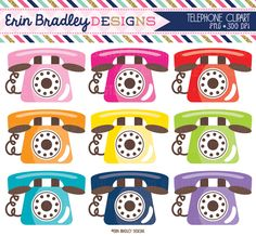 Telephone Clipart Phone Graphics Personal & Commercial Use