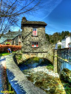 The Bridge House by Anthony SuperSnappz, via Ambleside, Lake Windermere, Lake District. England Bridge House was built over Stock Ghyll more than 300 years ago probably as a summer house and apple store for Ambleside Hall. Cumbria, Lake District, The Places Youll Go, Places To See, England And Scotland, Places Of Interest, English Countryside, Great Britain, Beautiful Places