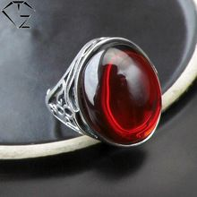 GZ Vintage Garnet Red Stone Silver Ring Opened Size Pure 925 Sterling Silver Rings for men Jewelry Mens Silver Rings, Sterling Silver Rings, Party Rings, Open Ring, Types Of Rings, Red Garnet, Jewelry Sets, Rings For Men, 100 Pure
