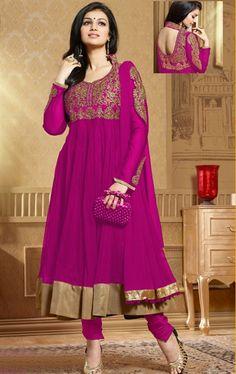 Fashion Deep Pink Color Net Anarkali Salwar Kameez