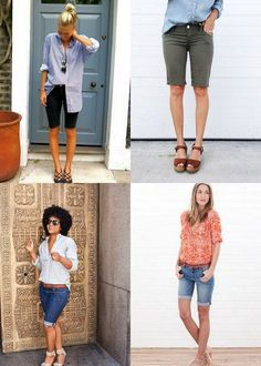 Trying to figure out how to wear bermuda shorts? These shorts outfit ideas will help you wear them confidently and feel stylish. Bermuda Shorts Outfit, Bermuda Shorts Women, Denim Shorts Outfit, Shorts Outfits Women, Mom Outfits, Chic Outfits, Fashionable Outfits, Dressy Outfits, Womens Long Shorts
