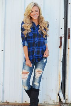 Flirting With Flannel Top - Royal Blue