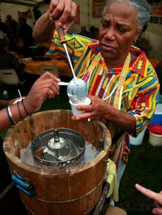 Home made coconut ice-cream seller - French West Indies