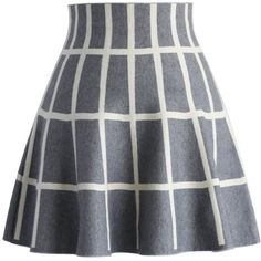 Chicwish Grids Knitted Skater Skirt in Grey ($36) ❤ liked on Polyvore featuring skirts, bottoms, grey, gray skirt, skater skirt, flared skirt, patterned skirt and grey skater skirt