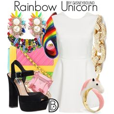 Rainbow Unicorn by leslieakay on Polyvore featuring Steve Madden, Moschino, SHOUROUK, Slate & Willow, disney, disneybound and disneycharacter