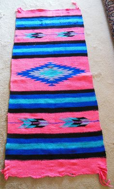 SouthWestern Indian Rug, Western Indian Style Handmade Carpet, Colorful extra Long Runner, Geometric pattern, Shabby Chic Cowgirl decor Boho