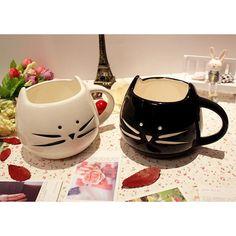 Cat Shaped Coffee Mug (Free Shipping) Buy here: https://goo.gl/FE2roa  Drinkware Type:Mugs Style:Cartoon Material:Ceramic Shape:Handgrip Color:White/black Cup Cat Animal Milk Cup Ceramic Lovers Mug Cute Drinkware  100% New Brand  Size: 13 * 11 * 9.5cm