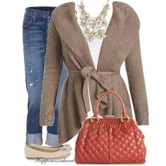 Cardigan with necklace is a nice look...also like the color combination of browns and oranges