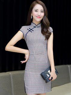 46184a7ca8 Casual Grid Qipao   Cheongsam Dress Vestido Coreano