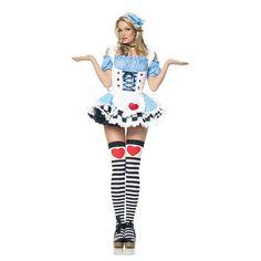Miss Wonderland feestkostuum  Blauw Miss Wonderland jurkje met vetersluiting op de buik en een schort en ruches aan de voorzijde.  Inclusief haar decoratie.  In dit jurkje waan je jezelf in wonderland!  Origineel om te dragen naar thema feesten of verkleed partijen.  Exclusief kousen.  Materiaal: 100% polyester.