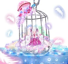 cute anime girl in bird cage