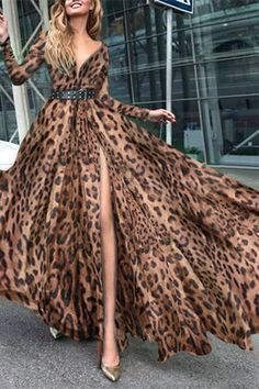 Sexy Fashion With Belt Leopard Print Maxi Dress – verghub Animal Print Fashion, Animal Prints, 15 Dresses, Fashion Dresses, Long Sleeve Floral Dress, Leopard Dress, Types Of Fashion Styles, Couture Fashion, Passion For Fashion