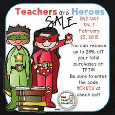 Teachers are Heroes sale on TPT!  Save 28% Wednesday only!  Enter code: HEROES https://www.teacherspayteachers.com/Store/Libby-Dryfuse#